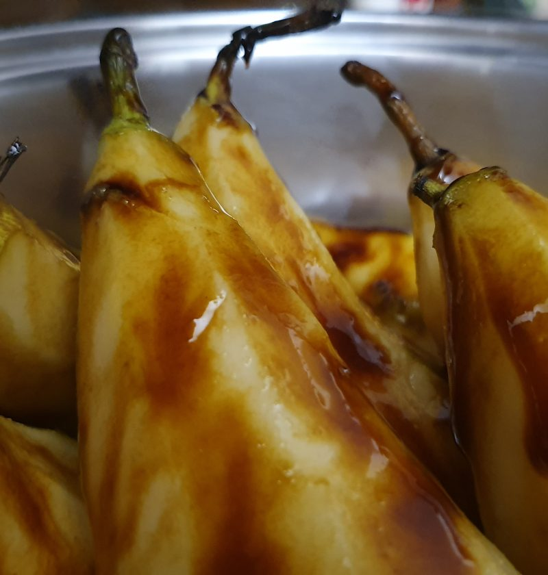 caramel molasses spice pears with red wine